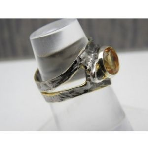 Custom made Jewelry - 925 Silver Abstract Citrine Ring Sz 8 GL Miller